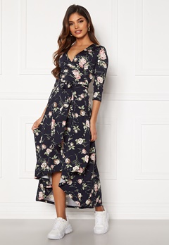 Chiara Forthi Tara 3/4 Sleeve Highlow Dress Dark navy / Floral Bubbleroom.no