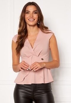 Chiara Forthi Tiziana cap sleeve wrap top Dusty pink Bubbleroom.no