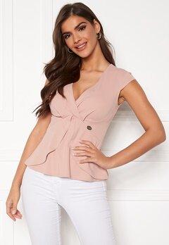 Chiara Forthi Tiziana cap sleeve wrap top Dusty pink Bubbleroom.no