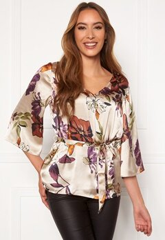 Chiara Forthi Turin tie belt blouse Champagne / Floral Bubbleroom.no