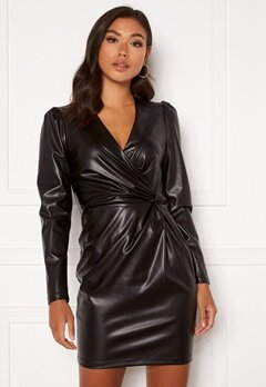 Chiara Forthi Vanni draped faux leather dress Black Bubbleroom.no