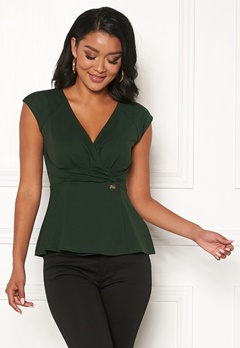 Chiara Forthi Varenna draped peplum top Emerald green Bubbleroom.no