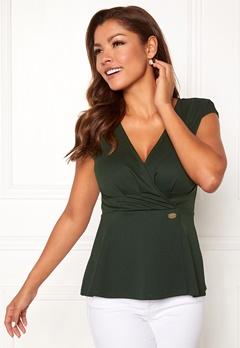 Chiara Forthi Varenna draped peplum top Emerald green Bubbleroom.no