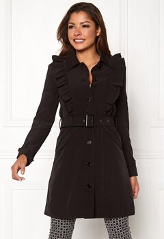 Chiara Forthi Vernazza Frill Trench Coat Black Bubbleroom.no