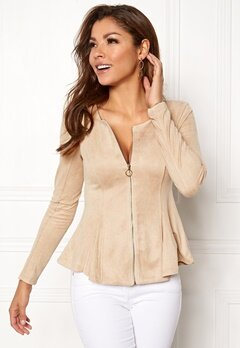 Chiara Forthi Zipped faux suede jacket Beige Bubbleroom.no