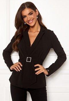 Chiara Forthi Gloria rhinstone buckle jacket Black Bubbleroom.no