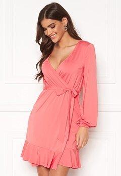 Chiara Forthi Charlie puff sleeve flounce dress Coral pink Bubbleroom.no