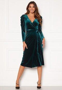 Chiara Forthi Laury puff sleeve wrap dress Green Bubbleroom.no
