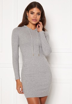 Chiara Forthi Ysabelle rib hoodie dress Grey melange Bubbleroom.no