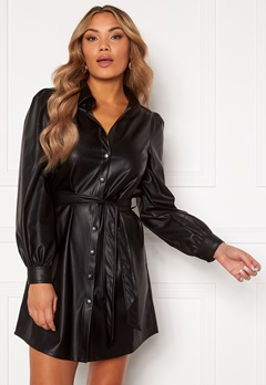 Chiara Forthi Faye faux leather shirt dress Black Bubbleroom.no
