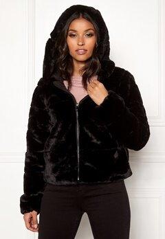 ONLY Chris Fur Hooded Jacket Black Bubbleroom.no