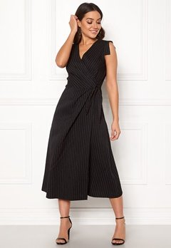 Closet London Wrap Front Midi Dress Black Stripe Bubbleroom.no