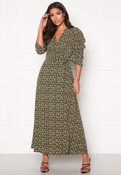co'couture Alina Flower Wrap Dress Mustard Bubbleroom.no