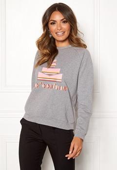 co'couture Cocouture Stripe Sweater 139 Mid Grey Bubbleroom.no