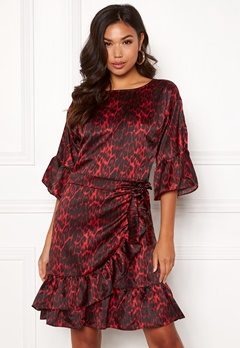 co'couture Animal Sateen Wrap Dress Rio Red Bubbleroom.no