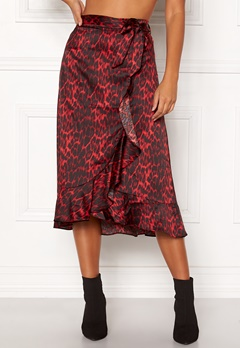 co'couture Red Animal Sateen Skirt Rio Red Bubbleroom.no
