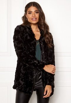 VERO MODA Curl High Neck Faux Fur Black Bubbleroom.no