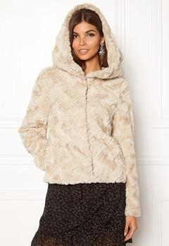 VERO MODA Curl Hoody Faux Fur Short Oatmeal Bubbleroom.no