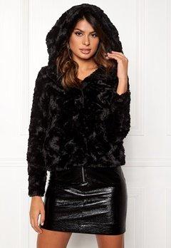 VERO MODA Curl Hoody Faux Fur Short Black Bubbleroom.no