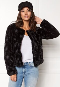 VERO MODA Curl Short Fake Fur Jacket Black Bubbleroom.no