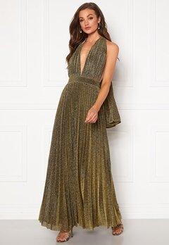 Goddiva Deep V Neck Glitter Dress Gold Bubbleroom.no