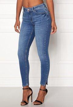 Pieces Delly Crop Slit Jeans Medium Blue Denim Bubbleroom.no