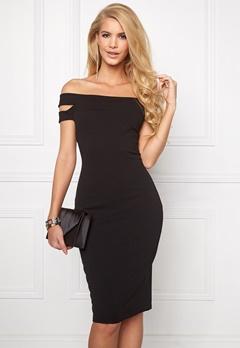 Goddiva Double Bardot Midi Dress Black Bubbleroom.no