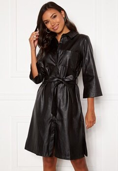 DRY LAKE Gullis Dress 027 Black Faux Leath bubbleroom.no