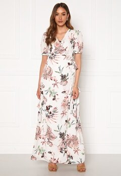 DRY LAKE Kimchi Long Dress 843 White Pink Flowe Bubbleroom.no