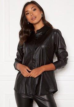 DRY LAKE Lykke Oversized Shirt 027 Black Faux Leath Bubbleroom.no