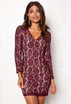 DRY LAKE Mythology Dress Burgundy Lace Bubbleroom.no