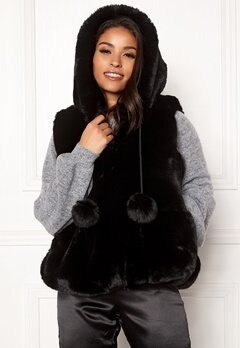 DRY LAKE Pom Pom Hoodie Vest Black Bubbleroom.no
