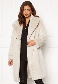 DRY LAKE Smoothie Long Jacket 125 Offwhite Faux F Bubbleroom.no