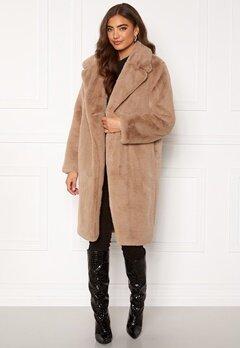 DRY LAKE Smoothie Long Jacket 133 Beige Faux Fur Bubbleroom.no