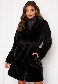 DRY LAKE Zig Zag Faux Fur Coat 030 Black Faux Fur Bubbleroom.no
