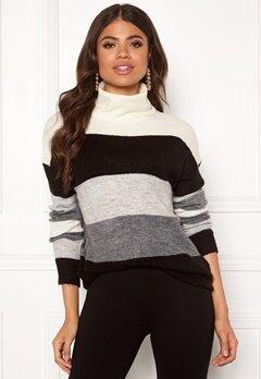 Jacqueline de Yong Elanora L/S Stripe Rollneck Knit Dark Grey Mel/Stripe Bubbleroom.no