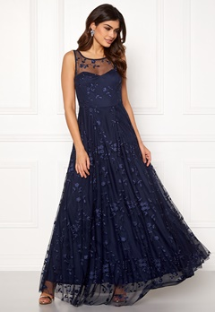 Goddiva Embroidered Maxi Dress Navy Bubbleroom.no