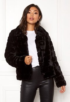 VILA Farry Faux Fur Jacket Black Bubbleroom.no