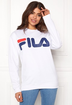 FILA Basic Classic Logo Sweat Bright White Bubbleroom.no