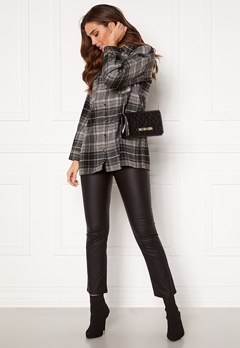 Noisy May Flanny L/S Long Shacket Black, Checks:BW/Gre Bubbleroom.no