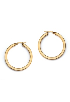 WOS Flat Gold Hoops Earrings Guld Bubbleroom.no