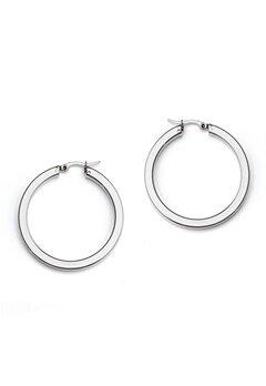 WOS Flat Silver Hoops Earring Silver Bubbleroom.no