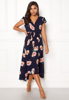 c17a0994c0f2 AX Paris Floral Cap Sleeve Dress Navy Bubbleroom.no