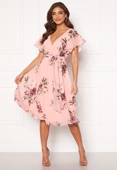 Goddiva Floral Flutter Midi Dress Peach Bubbleroom.no