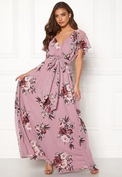 Goddiva Floral Sleeve Maxi Dress Lavender Bubbleroom.no