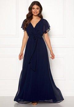 Goddiva Flutter Chiffon Dress Navy Bubbleroom.no