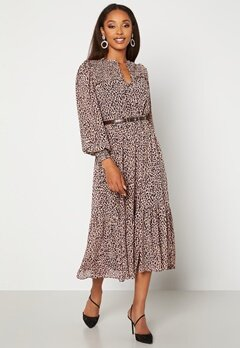 FOREVER NEW Tammy Tiered Midi Dress Caramel Leopard Bubbleroom.no