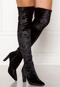 Francesco Milano Velvet Overknee Boots Nero Bubbleroom.no