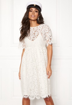 Pieces Gaia 2/4 Midi Lace Dress Cloud Dancer Bubbleroom.no