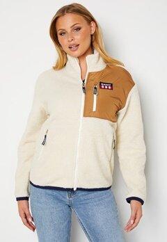 GANT Gant Retro Logo Fleece Jacket 115 Offwhite bubbleroom.no